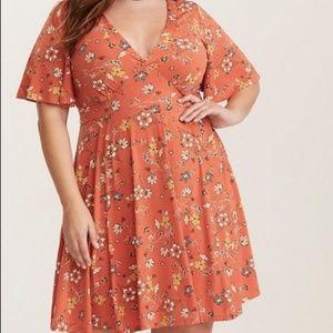 Torrid Skater Style Orange Floral Print Dress
